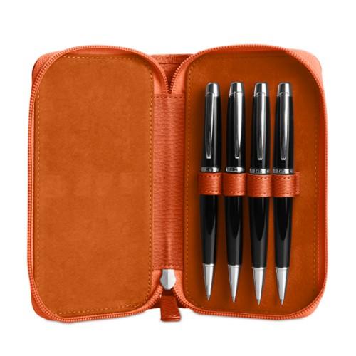 Astuccio porta 4 penna con zip - Arancione - Pelle Ruvida