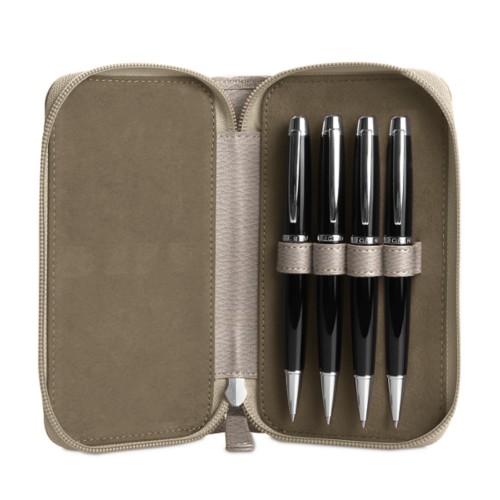 Astuccio porta 4 penna con zip - Taupe chiaro - Pelle Ruvida