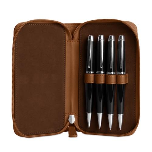 Astuccio porta 4 penna con zip - Cognac - Pelle Liscia