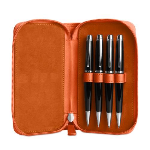 Astuccio porta 4 penna con zip - Arancione - Pelle Liscia