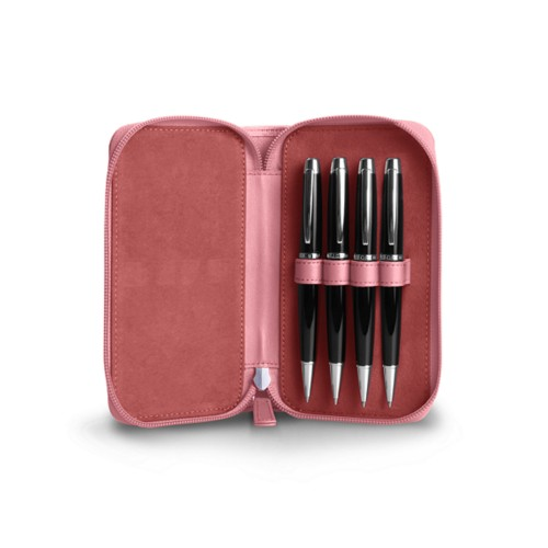 Astuccio porta 4 penna con zip - Rosa - Pelle Liscia