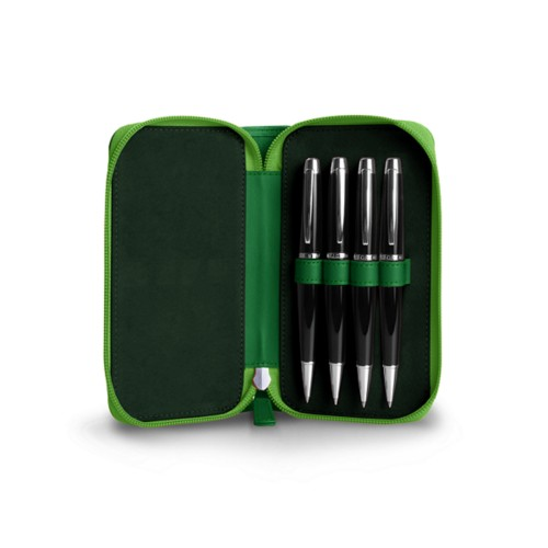 Estuche 4 pluma Con cremallera - Verde claro - Piel Liso