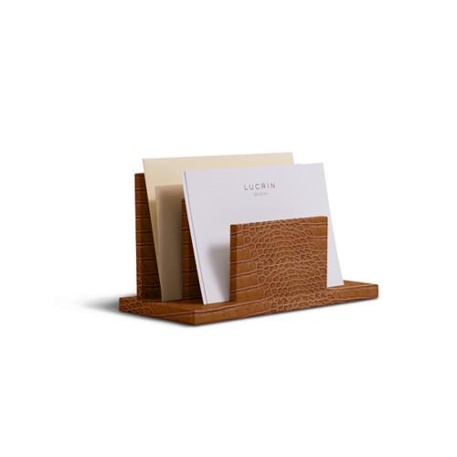 Briefhalter rechteckig - Camel - Leder in Krokodil- Optik