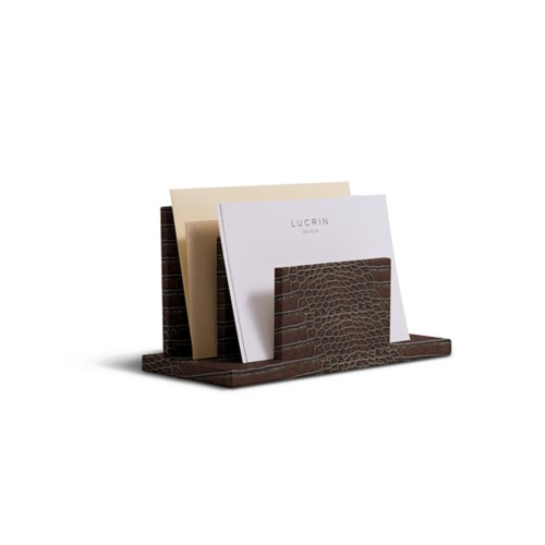 Letters or envelopes holder - Dark Brown - Crocodile style calfskin