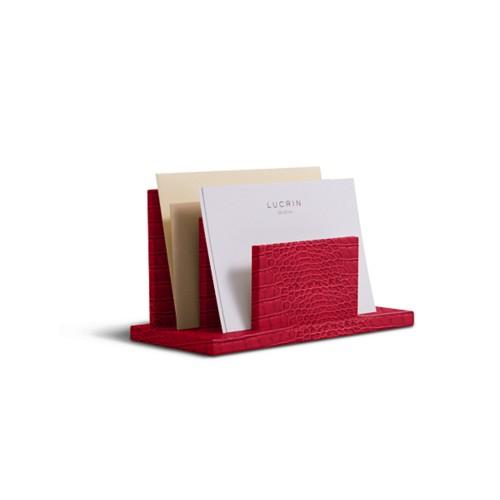 Letters or envelopes holder - Red - Crocodile style calfskin