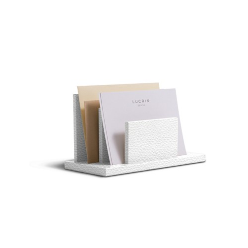 Letters or envelopes holder - White - Granulated Leather