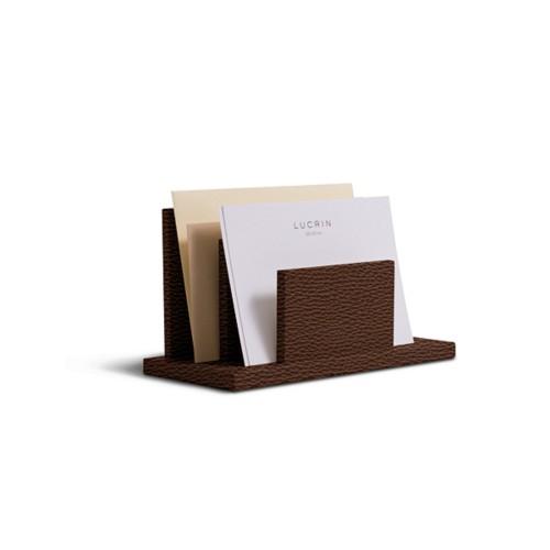 Letters or envelopes holder - Dark Brown - Granulated Leather