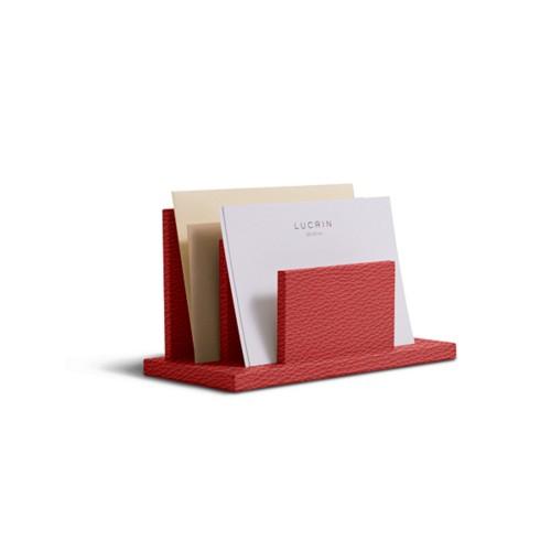 Letters or envelopes holder - Red - Granulated Leather