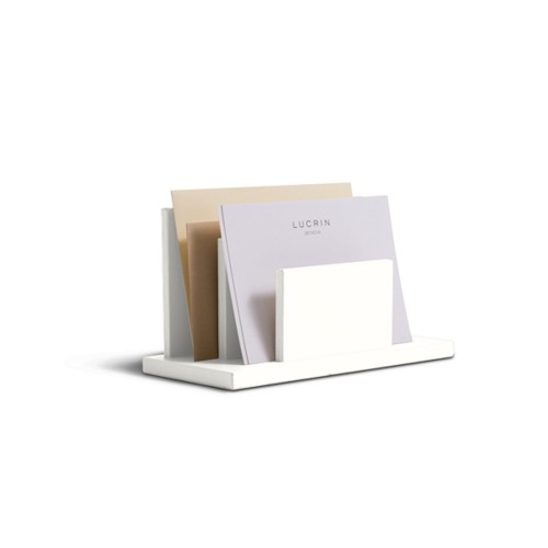 Letters or envelopes holder - White - Smooth Leather