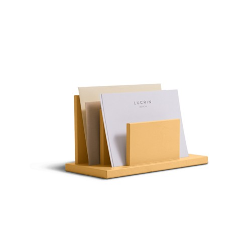 Letters or envelopes holder - Mustard Yellow - Smooth Leather
