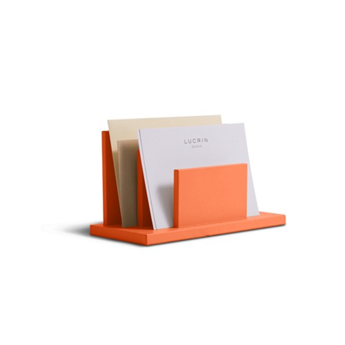 Letters or envelopes holder - Orange - Smooth Leather