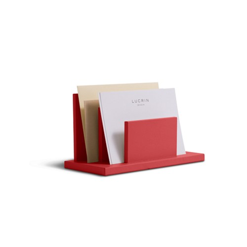 Letters or envelopes holder - Red - Smooth Leather