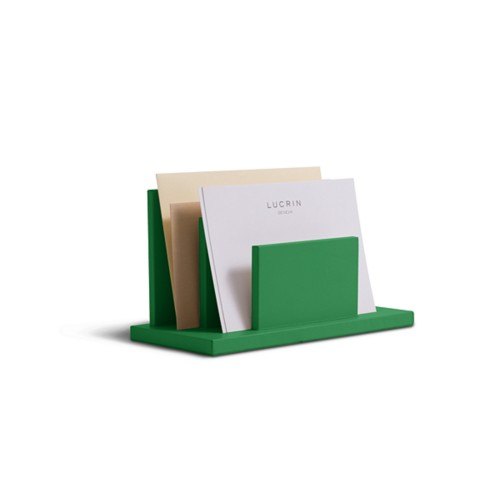 Letters or envelopes holder - Light Green - Smooth Leather