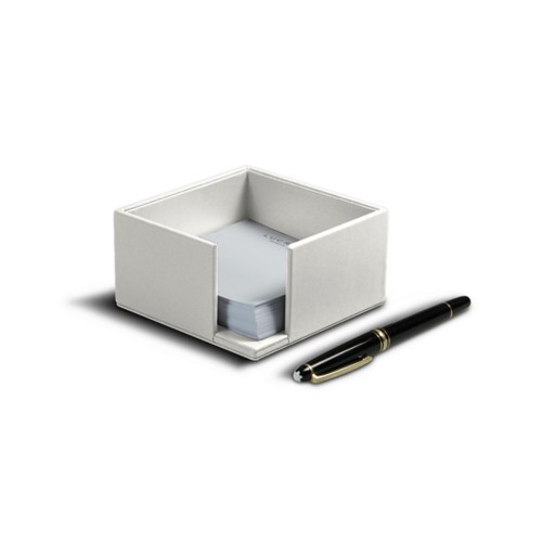 Memo paper holder 10.5 x 10.5 cm - White - Smooth Leather