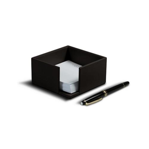 Memo paper holder 10.5 x 10.5 cm - Dark Brown - Smooth Leather