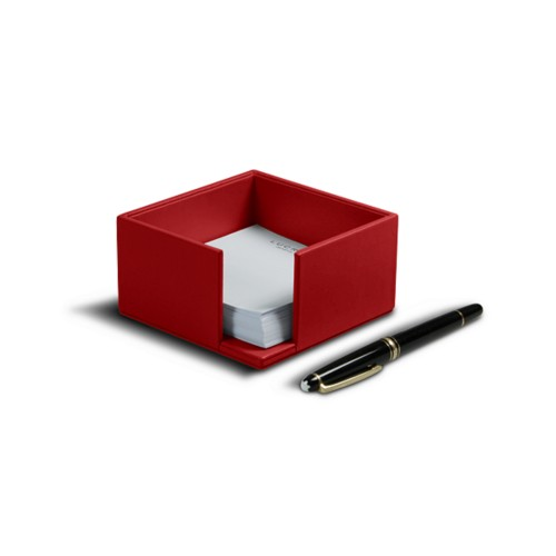 Memo paper holder 10.5 x 10.5 cm - Red - Smooth Leather