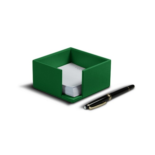 Memo paper holder 10.5 x 10.5 cm - Light Green - Smooth Leather