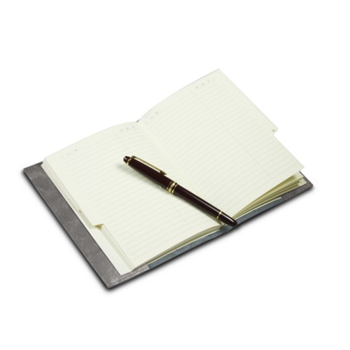 Office telephone directory with flexible cover - Silver - Metallic Leather