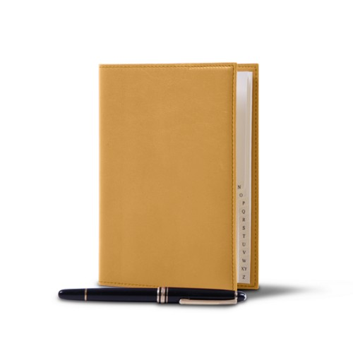 Office telephone directory with flexible cover - Mustard Yellow - Smooth Leather