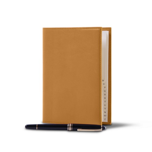 Office telephone directory with flexible cover - Natural - Smooth Leather