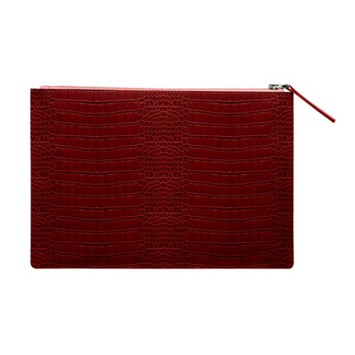 A5 Soft zipped bag - Red - Crocodile style calfskin