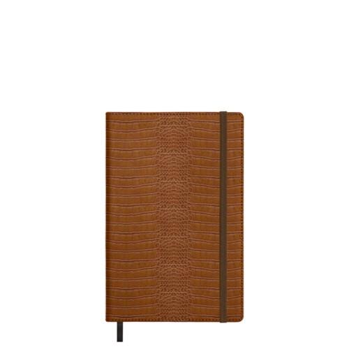 Notebook - A5 format - Camel - Crocodile style calfskin