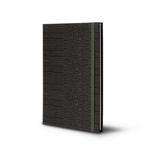 Notebook - A5 Format - Mouse-Grey - Crocodile style calfskin