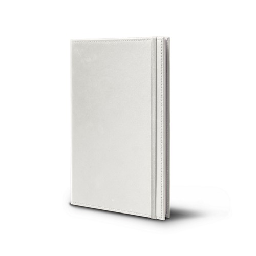 Notebook - A5 format - White - Smooth Leather