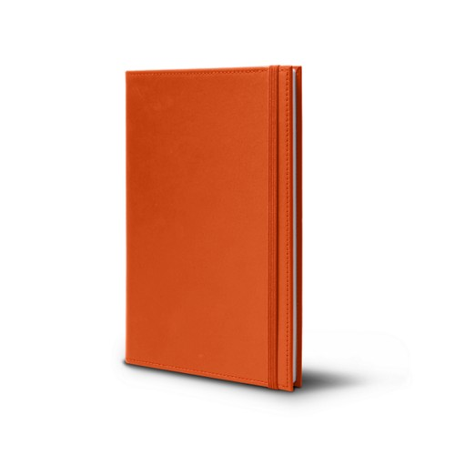 Notebook - A5 format - Orange - Smooth Leather