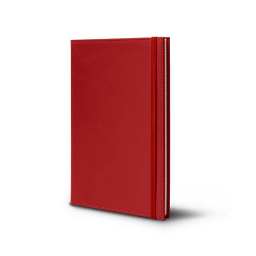 Notebook - A5 Format - Red - Smooth Leather