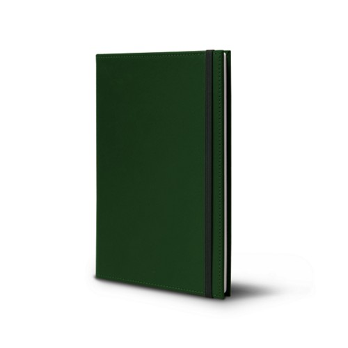 Notebook - A5 format - Dark Green - Smooth Leather