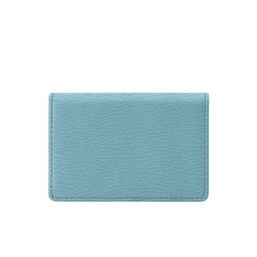Cartera para tarjetas de empresa con solapa - Azul cielo - Piel de Cabra