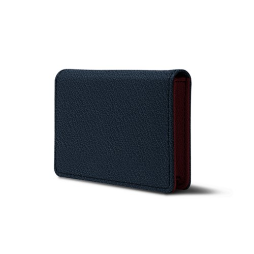 Bi-fold Business cards case - Navy Blue-Burgundy - Goat Leather