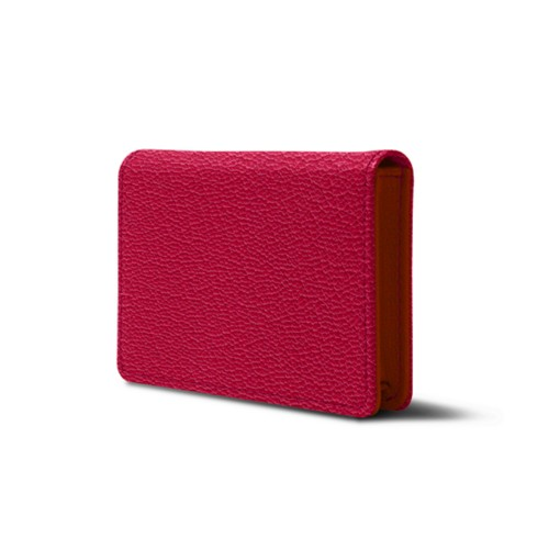 Bi-fold Business cards case - Fuchsia-Orange - Goat Leather