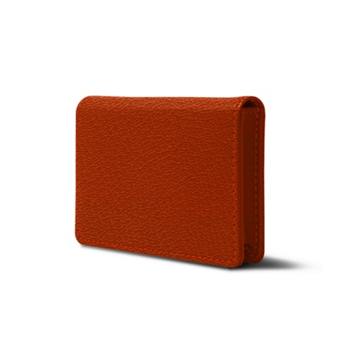 Bi-fold Business cards case - Orange - Goat Leather