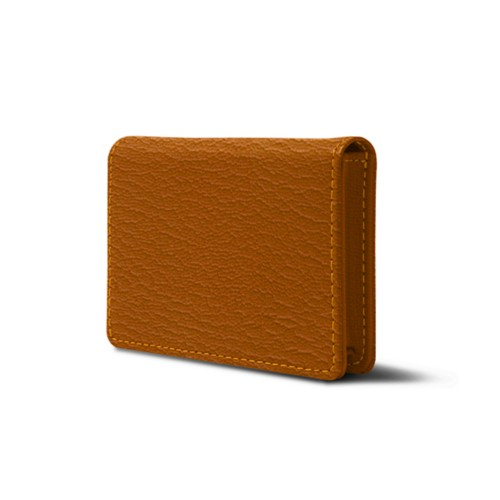 Cartera para tarjetas de empresa con solapa - azafrán amarillo - Piel de Cabra