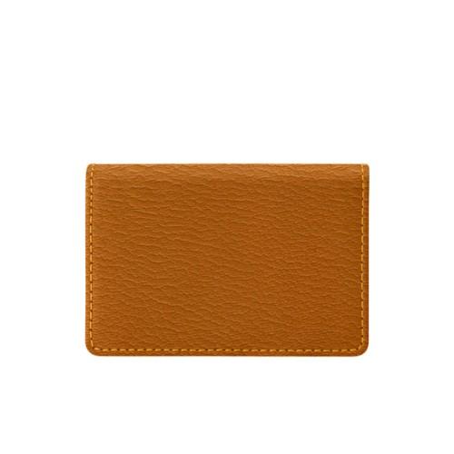 Bi-fold Business cards case - Saffron-Dark Taupe - Goat Leather