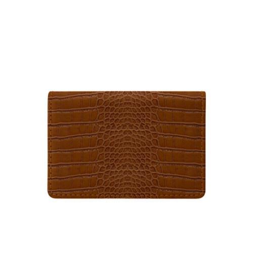Cartera para tarjetas de empresa con solapa - Camel - Piel Coco Grabado