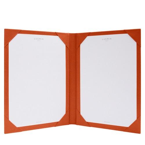 Parapheur et signateur - Orange - Cuir Grainé