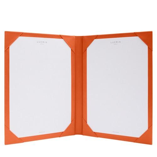 Parapheur et signateur - Orange - Cuir Lisse