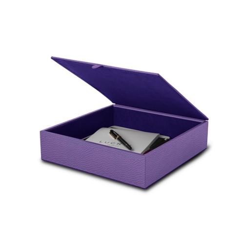 Large storage box (27 x 27 x 7 cm) - Lavender - Granulated Leather