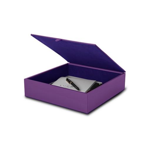 Large storage box (27 x 27 x 7 cm) - Lavender - Smooth Leather