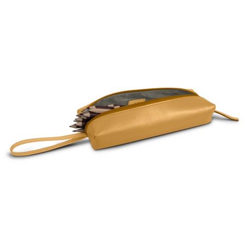 Astuccio grande - Amarelo Mostarda - Pelle Liscia