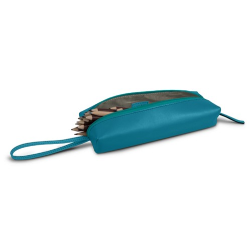Large pencil case - Turquoise - Smooth Leather