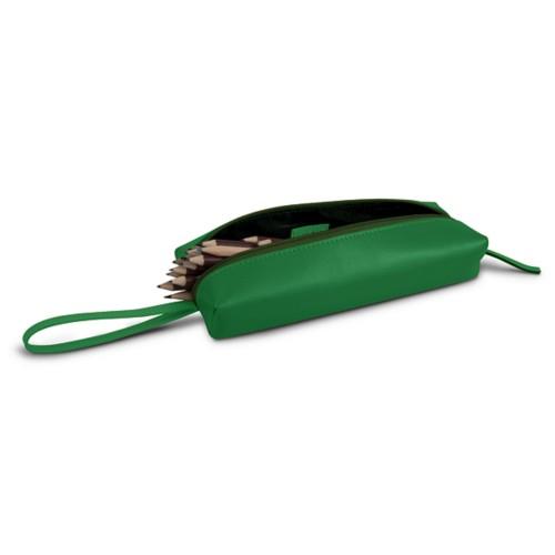 Estuche para lápices de gran tamaño - Verde claro - Piel Liso