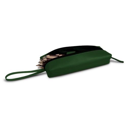 Estuche para lápices de gran tamaño - Verde Oscuro - Piel Liso