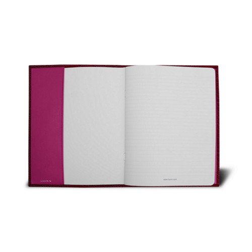 Couverture cahier A5 - Fuchsia  - Veau Façon Crocodile