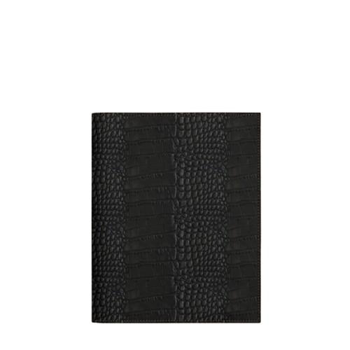 A5サイズ ノートブックカバー - Black - Crocodile style calfskin