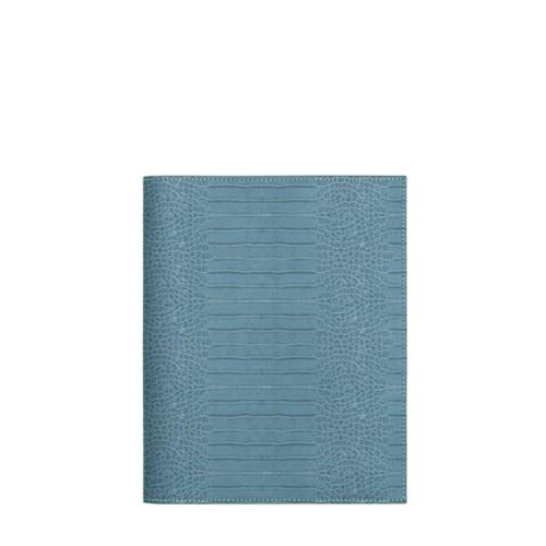 Couverture cahier A5 - Turquoise - Veau Façon Crocodile