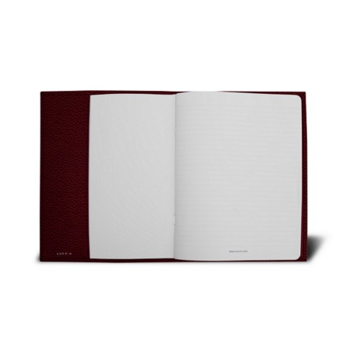 Couverture cahier A5 - Bordeaux - Cuir Grainé